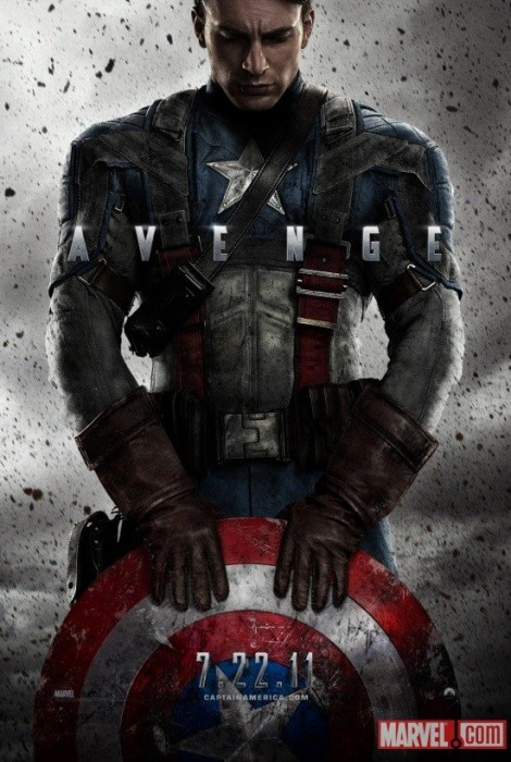 This poster is absolutely beautiful in its simplicity. The single word emblazoned across it of course hints at the impending team-up. But the confidence in Captain's iconic shield and outfit underscores the heroes harrowed place in the public psyche. The splattered dirt of course alludes to Steve's struggles to acclimate to his new status in the midst of the grittiest war of the century.